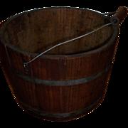 19th C New Hampshire Antique Wooden Primitive Bucket