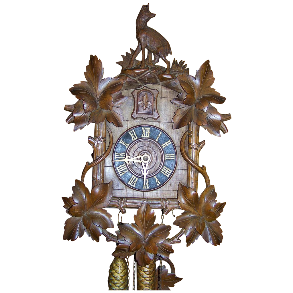 Fine Antique Cuckoo Clock with Unusual Mountain Goat Black Forest
