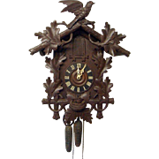 Antique Black Forest 3 Horn Trumpeter Clock Circa 1910