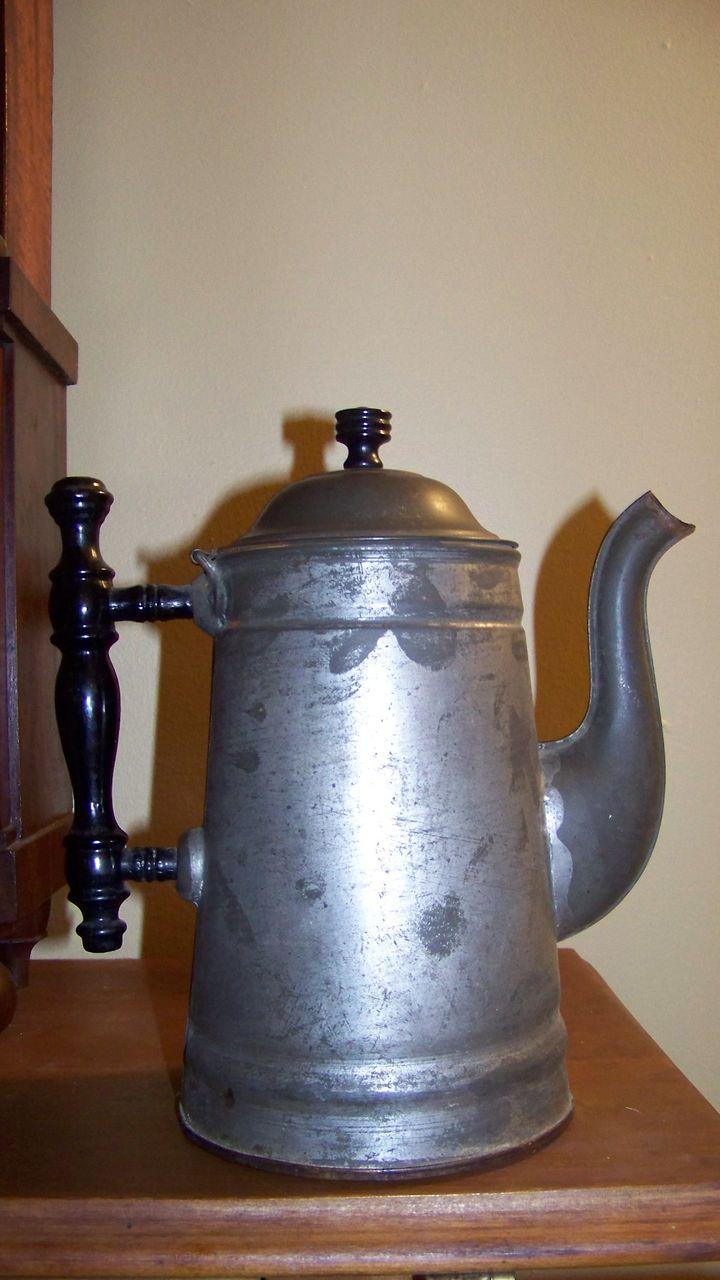 Early Tin Ware Coffee Pot Never used Original Label Rochester Non Rust  Tin Ware