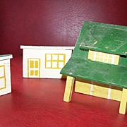 Vintage Folk Art Cigar Box Farm House and Two Chicken Coops