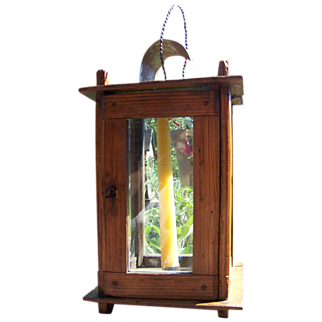 Nice Primitive Antique Wooden Barn Lantern Ca 1850-60