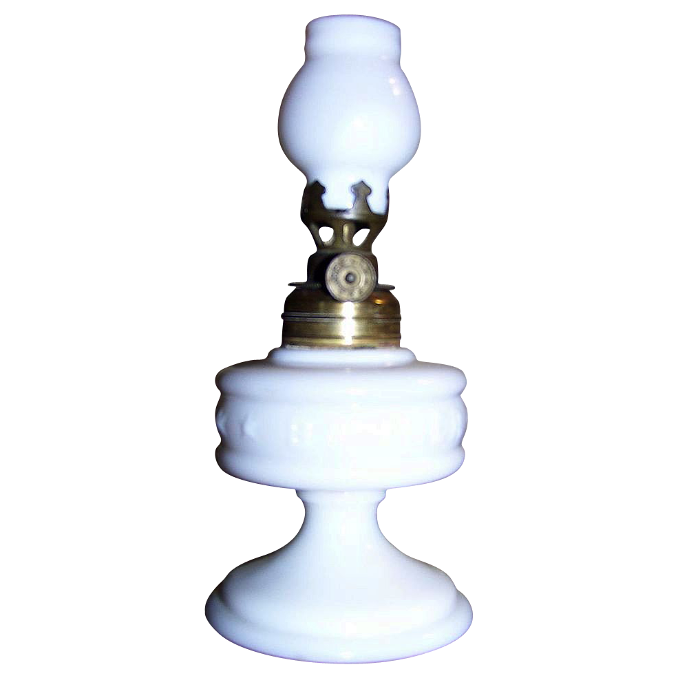 C 1977 Banner Improved Milk Glass Miniature Oil Lamp Smith I 20