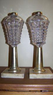 Excellent Pair Sandwich Glass Whale Oil Lamp Lamps C 1860