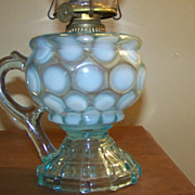 Mix and Match Blue and Opalescent Coin Spot Finger Oil Lamp C 1890