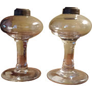 Circa 1840 Freeblown Pair of Fluid Lamps with Pontil