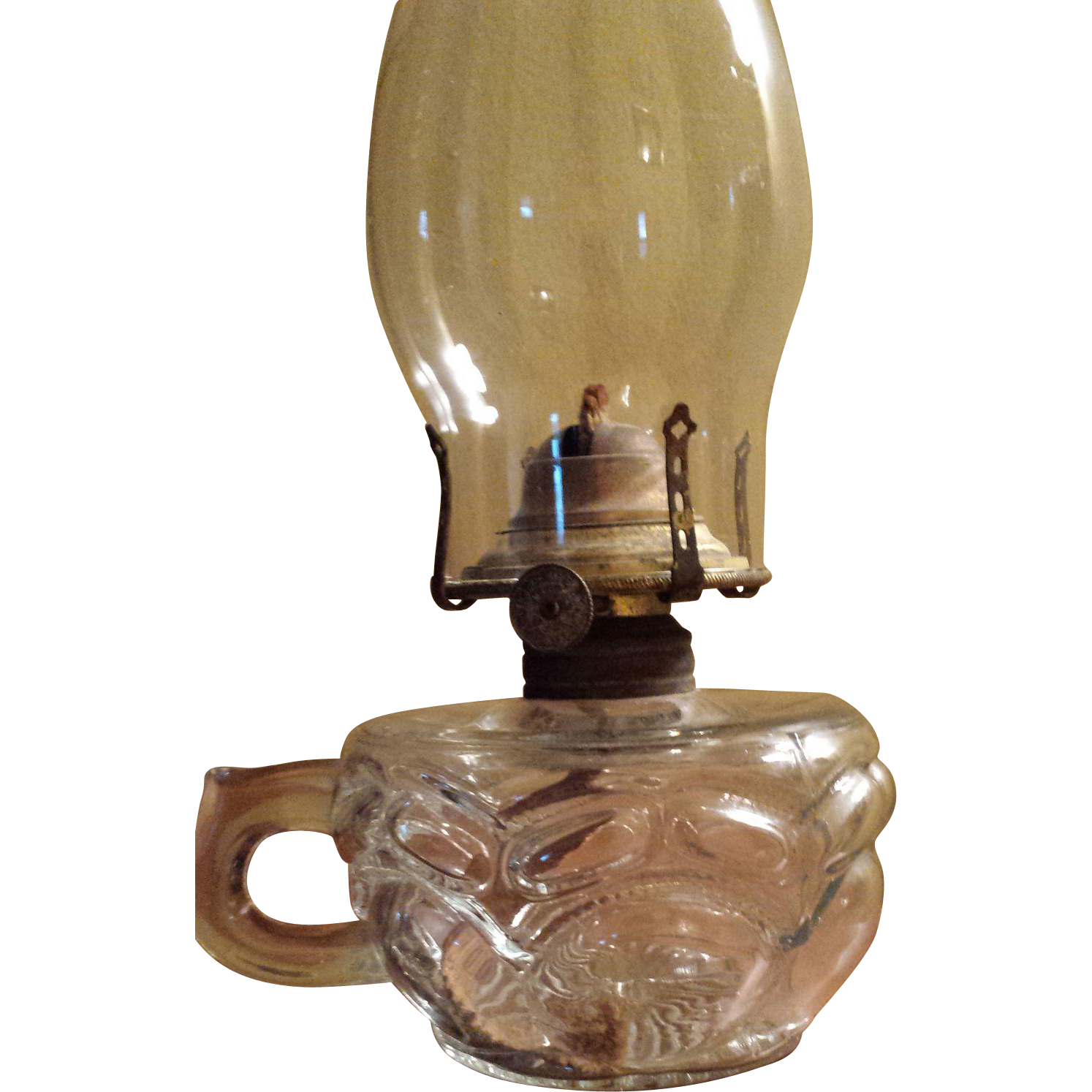 Peanut Pattern Glass Finger Oil Lamp Circca 1900 Excellent