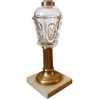 C 1840 Sandwich Glass Star and Punty Pattern Whale Oil Lamp with Brass Columnar Stem and Marble Base