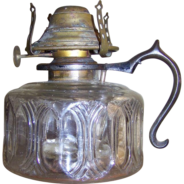 C 1873 Rhind Safety Lamp Finger Oil Lamp with Iron Handle