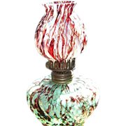 Miniature Oil Lamp C 1890 End of Day Red and Green