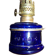 "C 1877  Miniature ""Nutmeg"" Oil Finger Lamp in Deep Cobalt Blue"