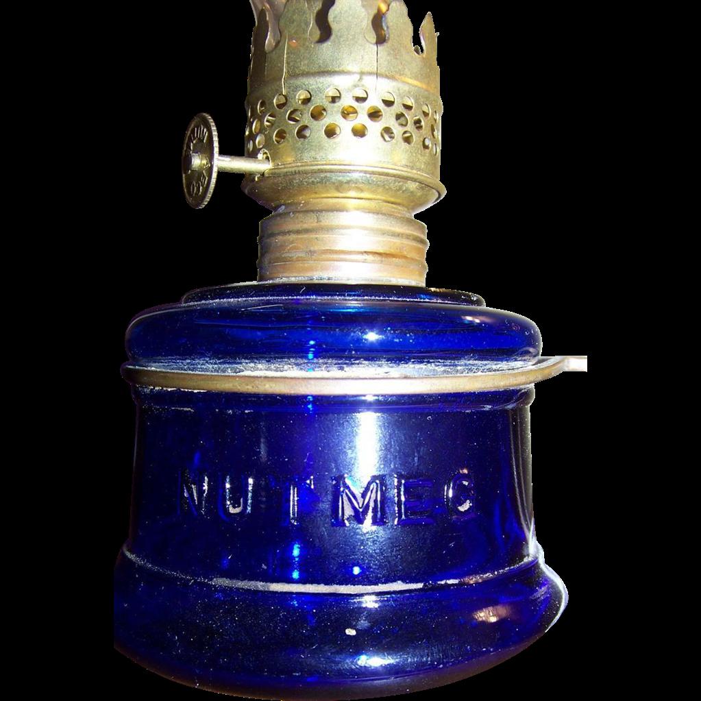 """C 1877  Miniature """"Nutmeg"""" Oil Finger Lamp in Deep Cobalt Blue"""