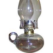 Simple C 1880 Mold Blown Finger Oil Lamp with Applied Handle