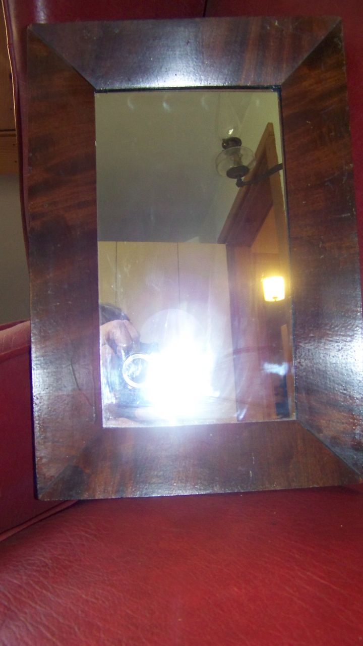 C 1850 Small Ogee Style Mahogany Mirror with Original Backing