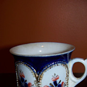 19th C Man's Flue Blue Shaving Mug German