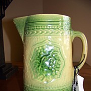 American Yellow Ware Green and Yellow Milk Pitcher C 1885