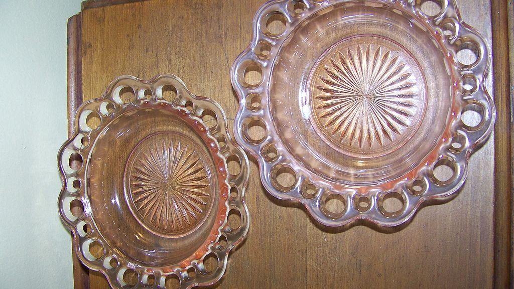 Pink Depression Glass Lacy Dessert Plates Set of 2