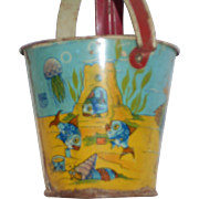 Early Miniature Sand pail with Nice Coloring and Original Tiny Sand Shovel