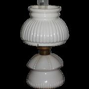 White Antique Miniature Oil Lamp with Original Shade