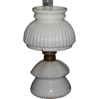White Antique Miniature Oil Lamp with Original Shade