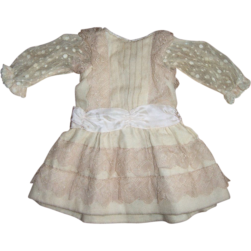 Stunning Cream Wool Antique Doll Dress - French Made