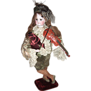"RARE Layaway 18"" Violinist Antique Doll Automaton Vichy"
