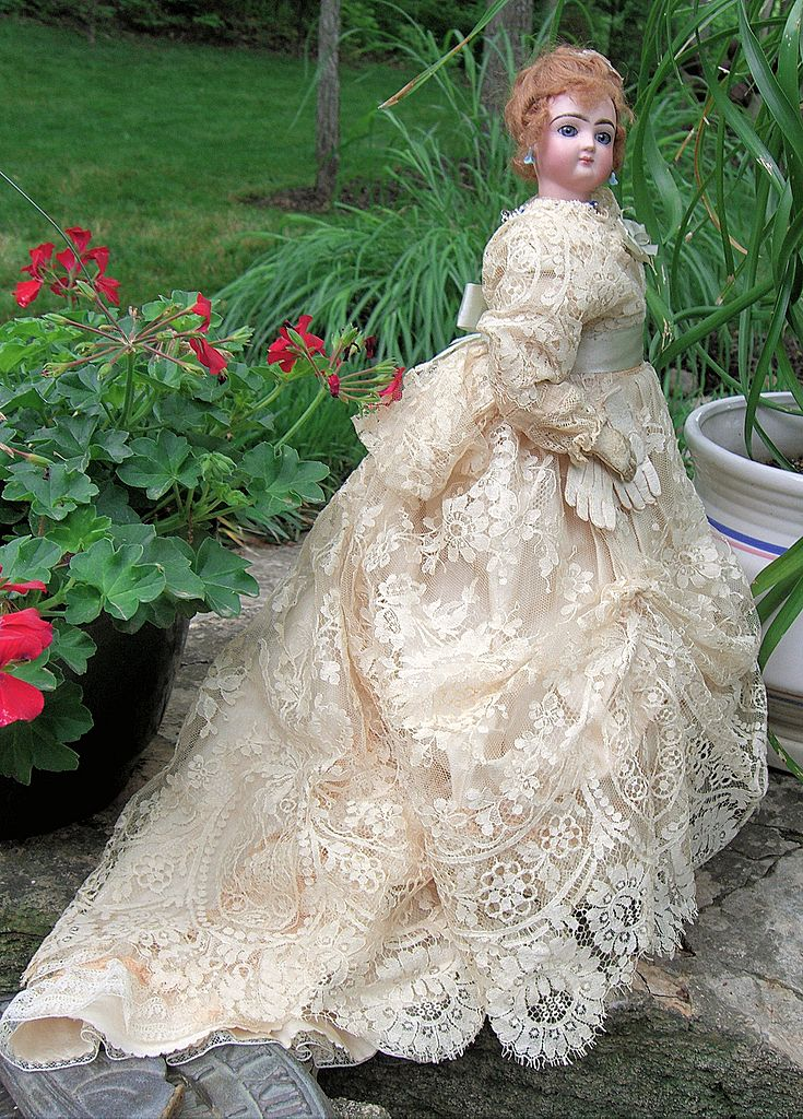 AMAZING Mystery Antique French Fashion Doll with STUNNING Ballgown & Kid leather gloves