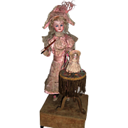 "Stunning Automaton ""Teaching Bebe to Dance"" two antique dolls - Layaway"