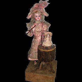 "Stunning Automaton ""Teaching Bebe to Dance"" two antique dolls - Layaway"