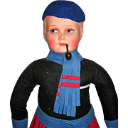 "25"" Dutch Boy Antique Doll - Mache & Felt"