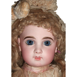 """22"""" EJ antique Doll - early straight wristed body - antique dress - antique Jumeau shoes - Layaway"""