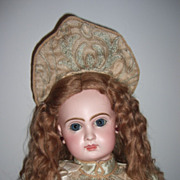 "22"" CM Tete Jumeau Antique Doll w.original earrings/wig - courtier Silk Dress! ! Layaway!"