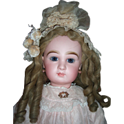 "25"" Transitional DEPOSE Tete Jumeau Antique Doll - Fabulous Pale Pink Antique Silk Dress - Layaway!"
