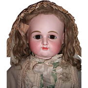 "RARE 23"" Very Round Face Antique Doll by Petit & Dumoutier w/Pewter hands  - Layaway"