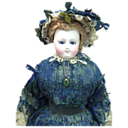 EARLIEST RARE Marked Bru Antique French Fashion Doll w/Original Gown, Parasol, Wig - Layaway
