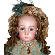 "25"" Antique Triste Jumeau Doll with RARE eyes, early 8 loose ball body - fabulous wig - layaway"
