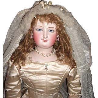 "Reserved STUNNING 28"" Antique Bru Smiler French Fashion Doll in Original Bride Gown - Layaway"