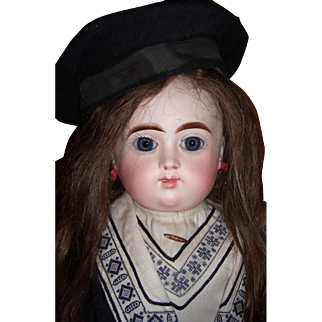"""22"""" RARE French Bisque Antique Doll by Henri Alexandre in Antique Mariner Dress- hat Circa 1890 Layaway"""