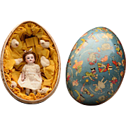 Adorable All Original Alice in Wonderland All Bisque Doll in Decorated Easter Egg - 9""
