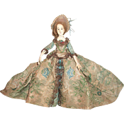 """12 1/2"""" Mystery Vintage Antique Wax & Jointed Wood Doll in 18th Century Style  Brocade Costume - Layaway"""
