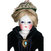 """16"""" Antique Rohmer Style China French Fashion Doll with Antique Blue Velvet Gown - Layaway"""