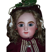 "RARE 28"" Bebe Mascotte Antique Doll by May Freres with Marked Body - Atnique Dress Wig Layaway!"