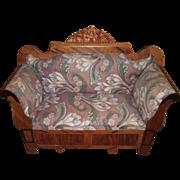 RARE Circa 1840 Horsehair Stuffed Sofa For Antique French Fashion Doll