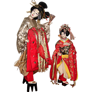 "Spectacular 25"" Japanese Twin Doll Display from Toy Museum - Layaway"