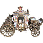 Miniature Antique Austrian Viennese Painted Enamel Carriage - Layaway!