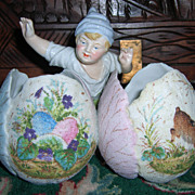 DARLING Antique German Figurine of Boy with Two Easter Eggs