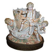 "Large Bisque Figurine - 3 boys fishing 12"" tall"