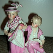 Antique Dresden Figurine: Sitzendorf Children (1850-1899)