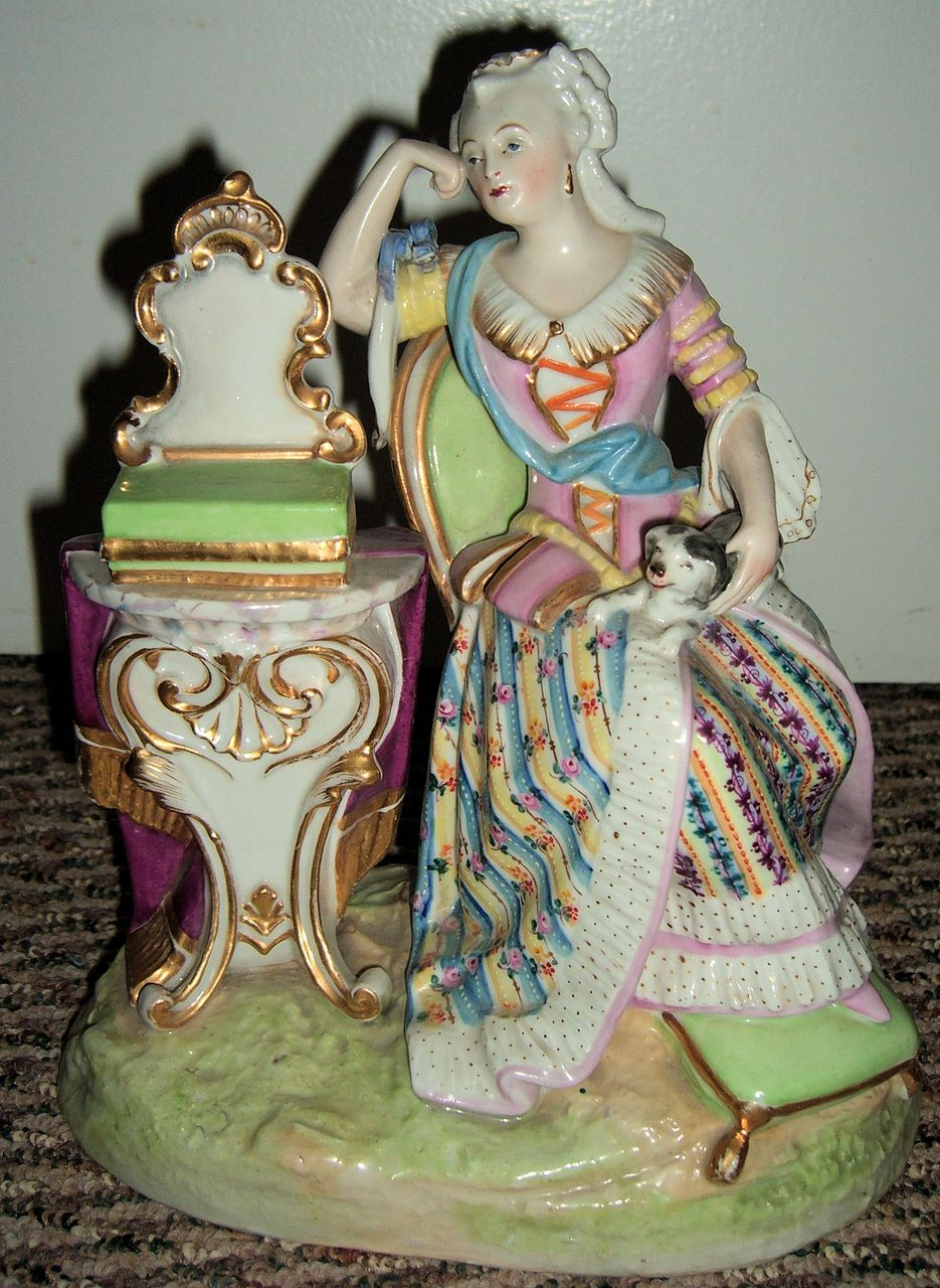 Antique Figurine Woman & Dog - Late 1800's!