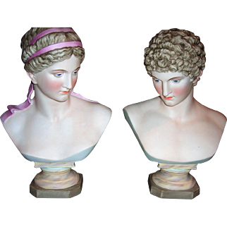 Antique Pair of Bisque Busts Germany